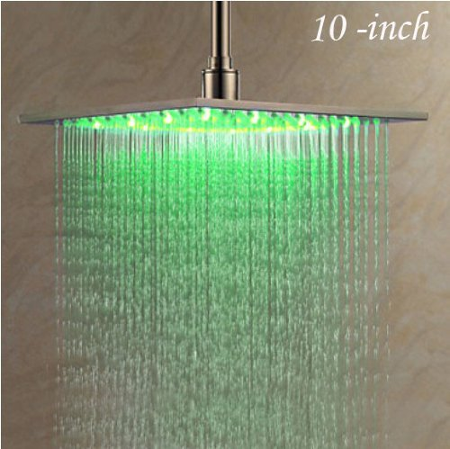 Rozin Nickel Brushed 10-inch LED Changing Color Rainfall Shower Head Over-head Shower Spray