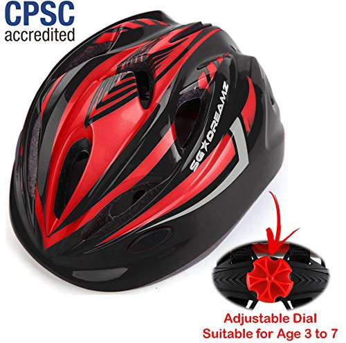Kids Bike Helmet for Bicycle Cycling, Skateboard, Scooter - Adjustable Harness from Age 3 to 7 for Head Size 19.6-22 inch - Durable Toddler Kid Bicycle Helmets Boys and Girls - Black Girl Helmet