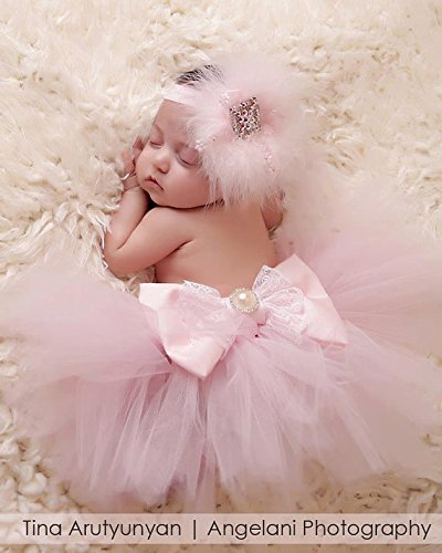 Baby Tutu and Headband Set, Swarovski Headband, Bow Tutu, Feather Headband, Tutu, Baby girl, New Born, Photo Prop, FREE FLOWER WRAP gift