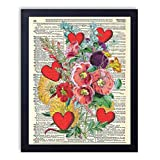 Blossoming Love Flowers and Hearts Bouquet Fun Wall Decor Upcycled Wall Art Vintage Dictionary Art Print 8x10 inches / 20.32 x 25.4 cm Unframed