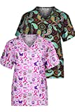 Minty Mint Women's Medical Scrub Set with Printed Wrap Top Multi Pack Pink Black M