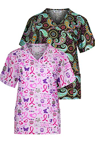 Minty Mint Women's Medical Scrub Set with Printed Wrap Top Multi Pack Pink Black M by Minty Mint
