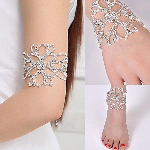 (Botrong Crystal Bracelets for Women Bridal Floral Ankle Bracelets Bangles Engagement Wedding Jewelry Silver)