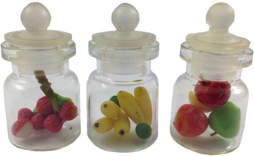 3pc Miniature Fruit Food Vegetable Dollhouse Fruit in Clear Glass Mini Bottle fruit mix #MF002