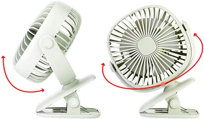 Color : Green, Size : One-Size Zxcvlina Portable Personal USB Fan Mini USB Clip Desk Personal Fan Portable 3 Mode Speed Plastic Fans Cooling Small Office for Home Office