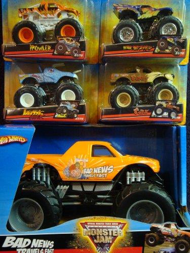Hot Wheels Durable Diecast Monster Jam Bad News Travels Fast 1/24 With War Wizard, Taz, Jurassic Attack, Prowler - War Truck Wizard Monster