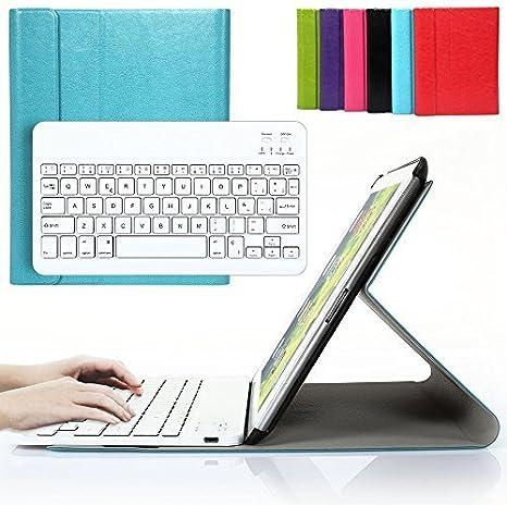 Besmall iPad 2 3 4 Funda con Teclado Bluetooth, Teclado Inálambrico Españoles con Cuero de La PU Cubierta para Apple iPad 2 iPad 3 iPad 4 - Azul
