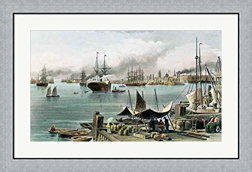 Port of New Orleans by Alfred r. Waud Framed Art Print Wall Picture, Flat Silver Frame, 36 x 24 - New Place Of Port Orleans