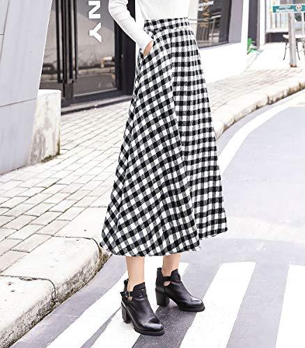 Chaud Femme Carreaux Haute A 3 Automne Longue de Jupe Vintage lgant Color Hiver plisse Taille Laine Taille Jupes Ligne ray lastique 7EOWq78nr