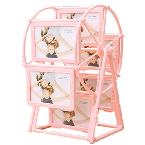 5 inches-12pcs Ferris Wheel Photo Album Windmill Wedding ABS Photos Frame Kids Pictures Holder (Pink)
