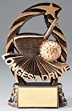 Etch Workz Customize Golf Trophy - Running Star RST844 Series Resin Longest Drive Golf Award - Includes 3 Lines of Engraving - Gold Plated & Personalized Free