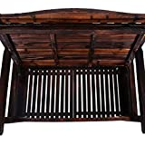 MUPATER Outdoor Wooden Storage Bench Seat Chair for