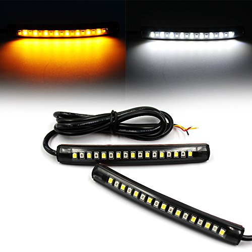 Purishion 2x Universal Flexible LED Turn Signal Tail Brake License Plate Light Integrated for Motorcycle Bike ATV Car RV SUV, Brake/Running Tail Light(2Pack) (Amber White) (Car Tail Brake)