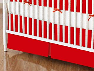 product image for SheetWorld 100% Cotton Flannel Crib Skirt 28 x 52, Flannel FS8 - Red, Made in USA
