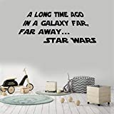 looebz Decor Stickers Walls Art Words Sayings Removable Lettering A Long Time Ago in A Galaxy Far Far Away Star Wars for Living Room Bedroom