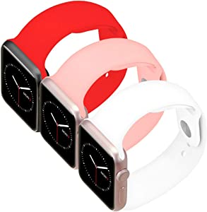 Goospery 3-Pack Silicone Sports Band Compatible with Apple Watch Bands 38mm 40mm 42mm 44mm, 38RDPSWH