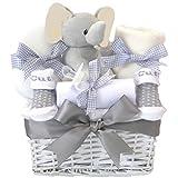 My First Teddy Elli Elephant Baby Hamper Unisex/Grey Baby Shower Gifts Basket/Newborn Gifts Boy Girl Neutral Baby Gifts/Nappy Cake Unisex/Gift Box Set New Born Presents Maternity Leave Gift Ideas