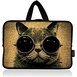 AUPET Cat with Glasses Universal 7 ~ 8 inch Tablet Portable Neoprene Zipper Carrying Sleeve Case Bag