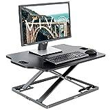 VIVO Black Single Top Height Adjustable 32 inch Standing Desk Converter | Sit Stand Tabletop Monitor Laptop Riser Workstation (DESK-V000HB)