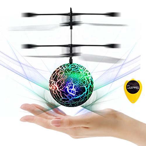 Slepwel RC Flying Ball Kids Toys, Mini RC infrared Helicopter Flying Toys Built-in Shinning LED Colorful Lights for Teens,Christmas Gifts Toy for Boys and Girls (Green)