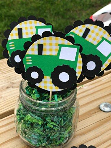 Farm John Deere Green inspired Tractor cupcake toppers set o