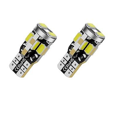 12V T10 168 194 Led Bulbs, Bright White light 10SMD 5630 Chipset Aluminum body 2825 W5W 912 LED Bulb for Car Interior Light Dome Map Light Door Courtesy License Plate Lights, Pack of 2: Automotive