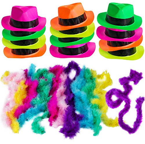 Neon Party Supplies - 80's Style, Neon Gangster Hats, Fedora Party Hats W/Neon Mini Boas - Party Dress Up by Funny Party Hats (Fedora Hats with Mini -
