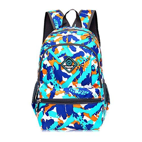 Super moderno unisex nylon bolso de escuela de los niños mochila senderismo mochila fresco mochila deportiva, color Blue&Orange, tamaño medium Blue&Orange