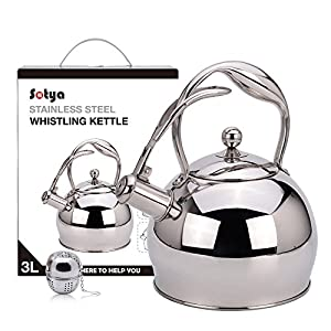 Sotya whistling silver stainless steel tea kettle teapot stovetop teakettles for stove top with detachable anti-hot handle gloves(2.75 Quart)