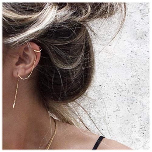 Chain Platinum Earrings - Elensan 925 Sterling Silver Cuff Chain Earrings Wrap Tassel Earrings for Women (Platinum-Plated 2)