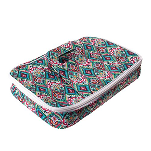 Insulated Casserole Carrier with Handle, Thermal Travel Tote Bag, Pretty Trellis Patterned Carrying Case (Springtime, 9 x 13)