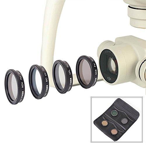 HOBBYTIGER Lens Filter Kit UV ND4 ND8 CPL for DJI Phantom 4 (4 Pack Filter)