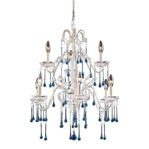 "Elk Lighting 4003/6+3AQ 9 Light Chandelier, 25"" x 25"" x 28"", Antique White/Aqua Crystal"