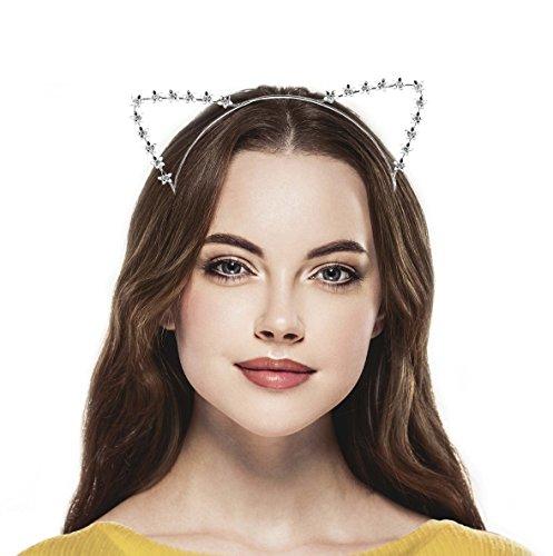 Cute Cat Costumes Makeup (Lux Accessories SilverTone Floral Flower Festival Costume Cat Ear Metal Headband)