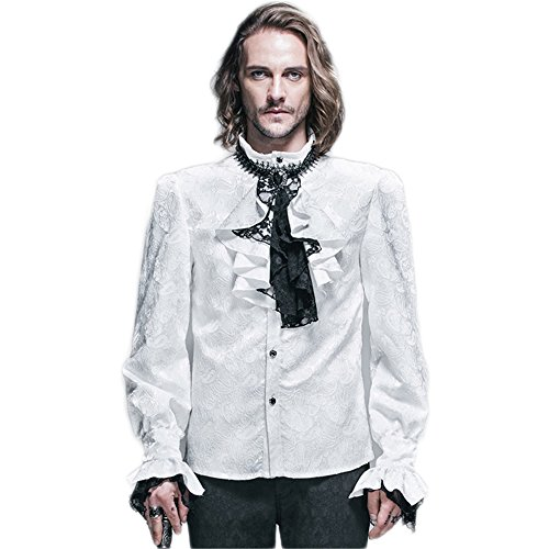 Steampunk Gothic Men Blouses Shirts Victorian Men's Long Sleeve Shirts Tops Halloween Costumes (XL, White)