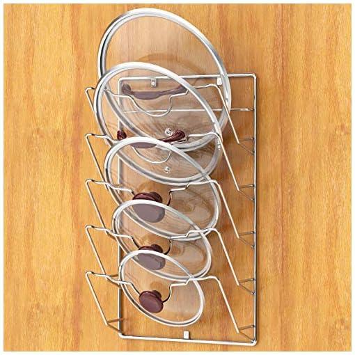 Kitchen Wall Door Mounted Pot Lid Rack, Chrome Finish pot lid holders