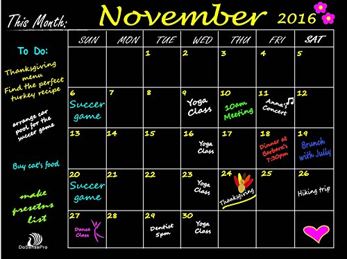 DoSensePro Monthly Calendar Chalkboard Planner Organizer, Wall Decal Chore Chart Family Calendar 18