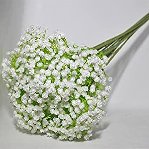 Jasion Artificial Baby Breath 10 Pcs White Flowers for Home Party Wedding Decoration 4