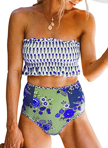 (Aleumdr Womens Floral Print Push Up Beach Summer Strapless Smocked Fashion Bikini Set Ruffled High Waist Swimsuit Bathing Suit 2 Pieces Swimear with Briefs Blue X-Large 16 18)