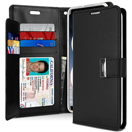 Goospery Rich Wallet for Samsung Galaxy Note 8 Case (2017) Extra Card Slots Leather Flip Cover (Black) NT8-RIC-BLK Blk Leather Like Cover