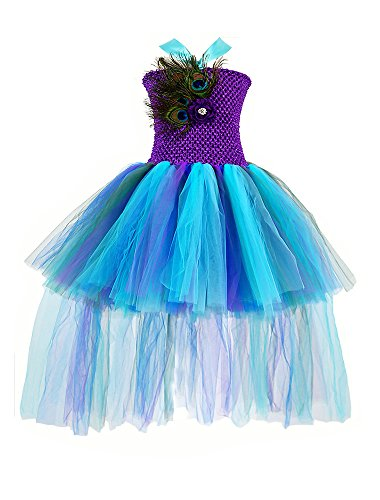 (Tutu Dreams Peacock Tutu Dresses for Big Girls with Feather and Flower (10,)