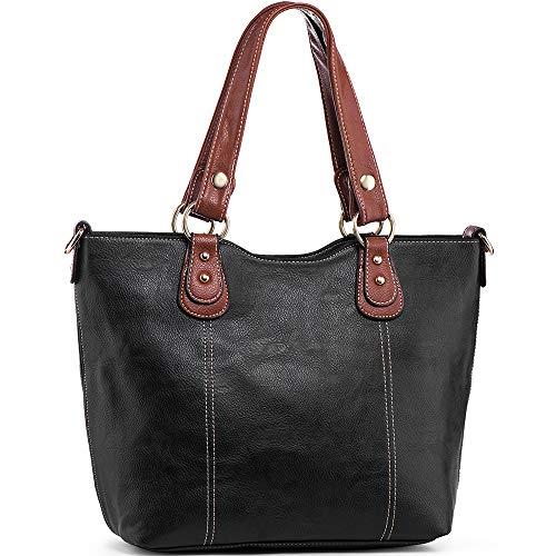 (UTAKE Handbags for Women Top Handle Shoulder Bags PU Leather Tote Purse Medium Size Black )