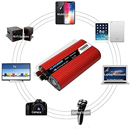 tel/éfono,12vTo110v Knoijijuo 1500W inversor convertidor DC 12V a 220V convertidores AC 230V 240V Coche con una Toma de Corriente alterna y Dos Puertos USB para Ordenador port/átil Tableta
