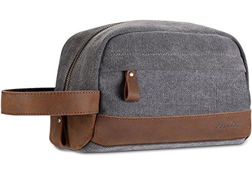 Ideal Shave Kit - ProCase Travel Toiletry Bag Shaving Dopp Kit, Vintage Genuine Leather Canvas Grooming Shaver Bag Toiletry Bags Case For Mens -Gray
