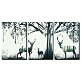 wall26 3 Panel Animal Canvas Wall Art - Double Exposure Deer and The Forest - Giclee Print Gallery Wrap Modern Home Decor Ready to Hang - 16''x24'' x 3 Panels