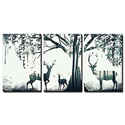 Marvelous Composition, 3 Panel Animal Double Exposure Deer and The Forest x 3 Panels, Made For You