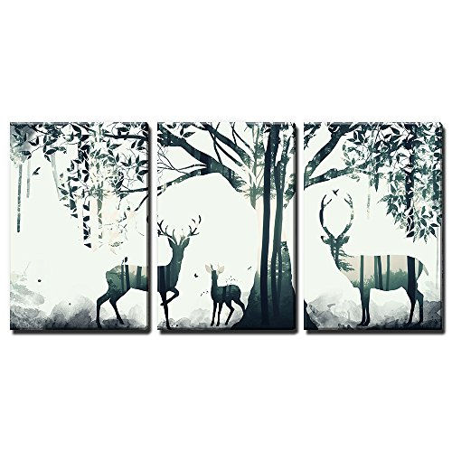3 Panel Animal Double Exposure Deer and The Forest x 3 Panels