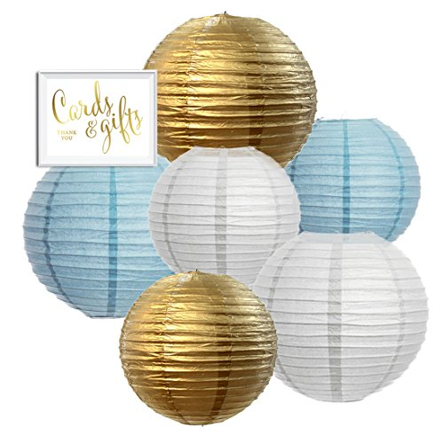 Andaz Press Hanging Paper Lantern Party Decor Trio Kit with Free Party Sign, Gold, Baby Blue, White, 6-Pack, For Boy Baby Shower Baptism (Baby Shower Decor Kits)