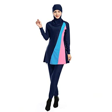 805a79563a8 Meijunter Full Cover Modest 2-Pieces Muslim Swimwear Attached Hijab Islamic  Arab Middle East Malaysia Summer Swimsuit Burkini Bathing Suit Beachwear  for ...