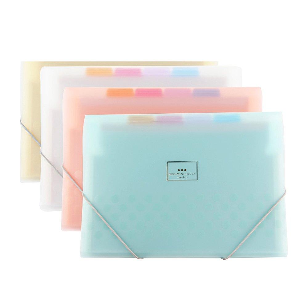 Zhi Jin 7 Pockets A4 Macaron Color Expanding File Folder Accordion Document Organizer Folders Holder with Double Elastic Closure Office School Blue
